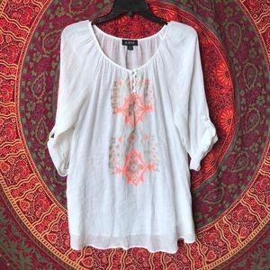 A.Byer White neon orange boho detailed shirt